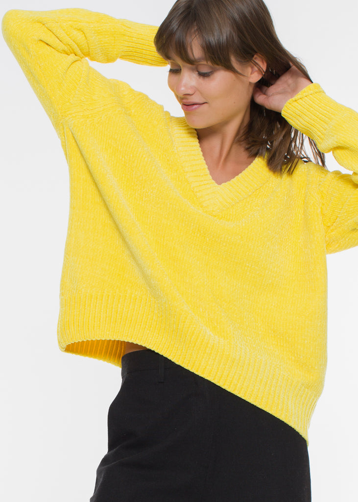 Velvet V-Neck Knit Buttercup