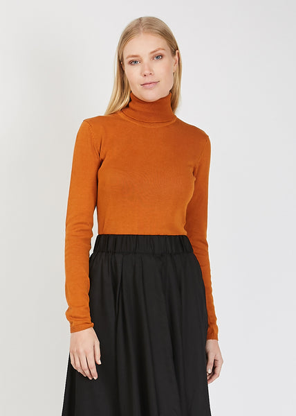 Knit Roll Neck Top Rust
