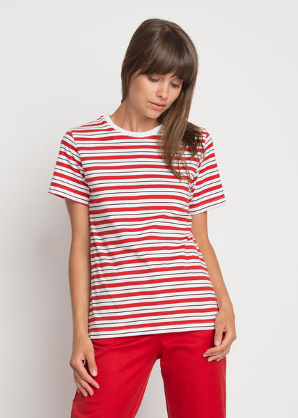 Building Block Classic Fit Tee Red Stripe