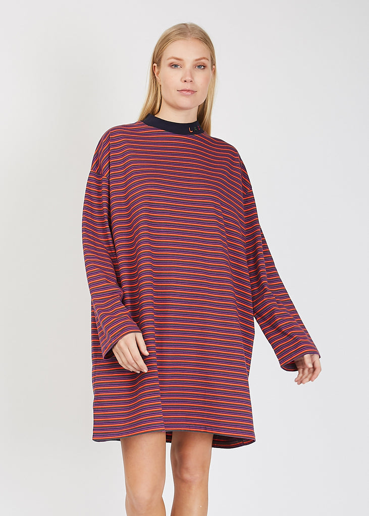 Tiny Stripe Oversized T-Shirt Dress Multi