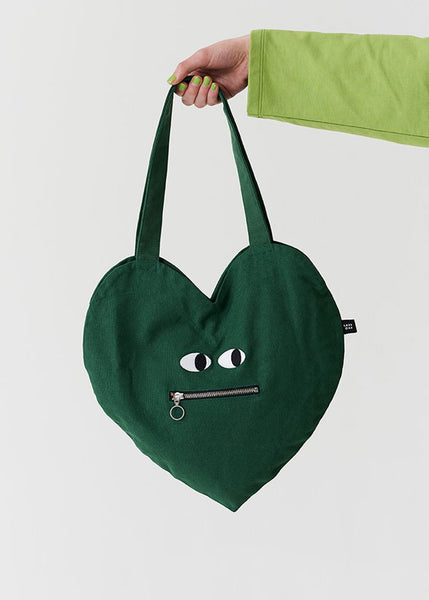 Zippy Mouth Heart Bag Green