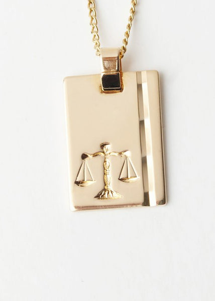 Libra Star Sign Pendant and Chain Gold