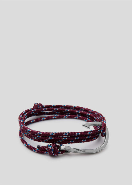 Hook on Rope Bracelet Silver/Burgundy