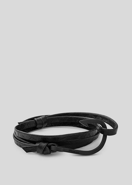 Hook on Leather Bracelet Black/Asphalt