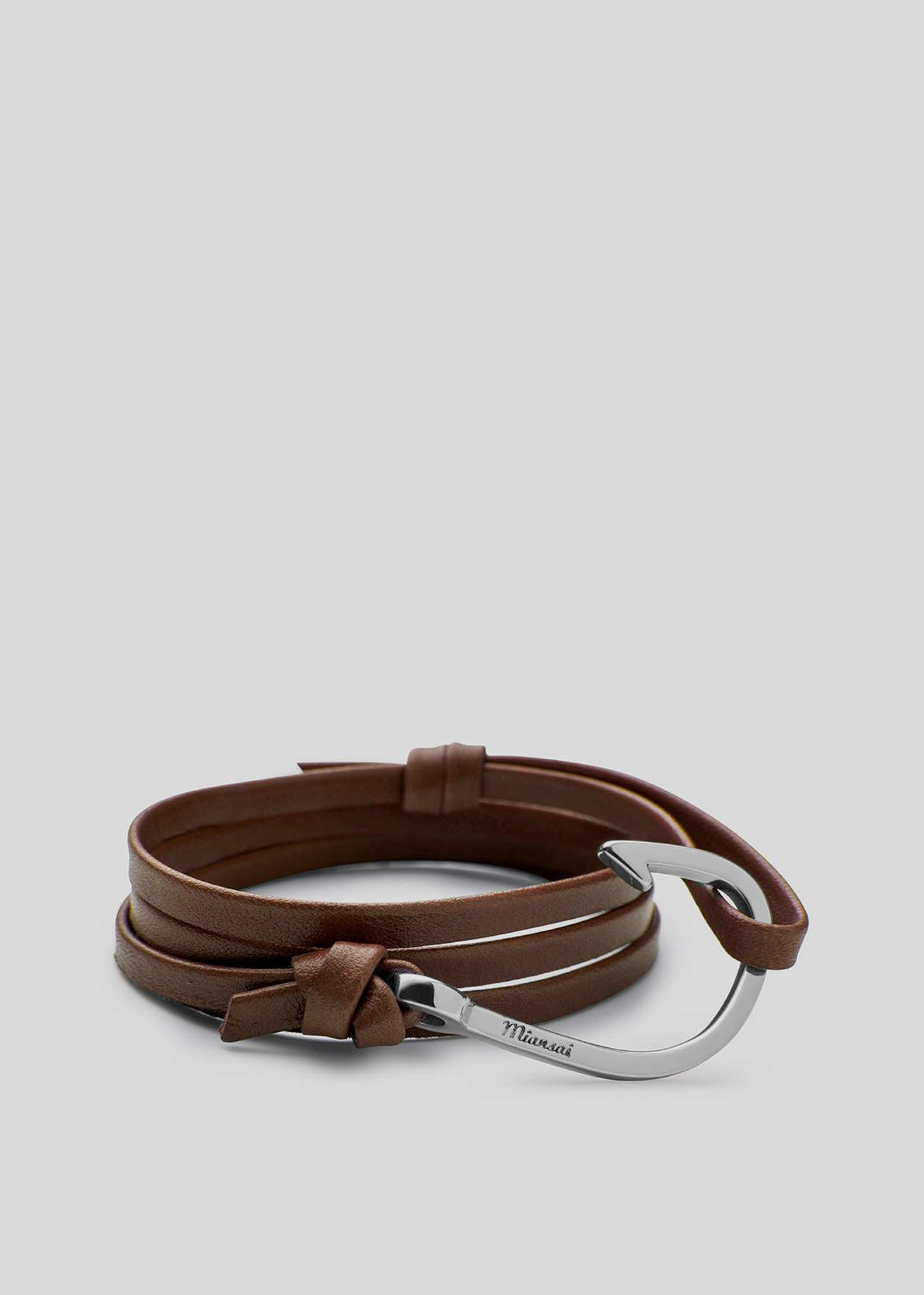 Hook on Leather Bracelet Silver Plated/Brown