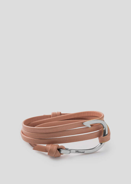 Hook on Leather Bracelet Silver Plated/Tan
