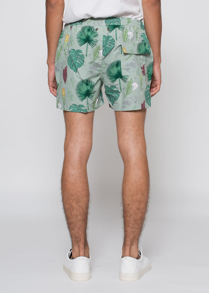 Flower Power Swim Shorts Light Green