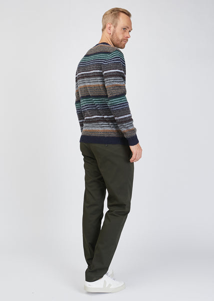 John Crew Neck Stripe Knit Navy Multi