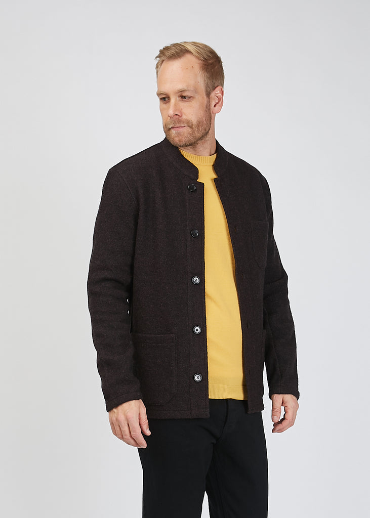 Oswald Boiled Wool Jacket Brown Mel