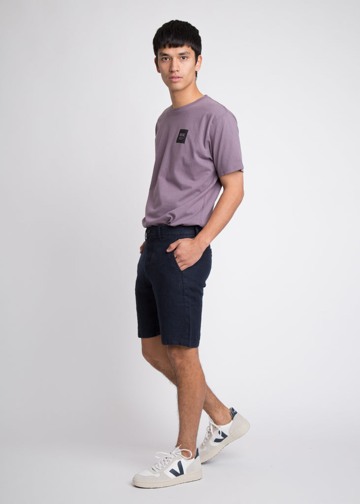 Crown Linen Shorts Navy Blue