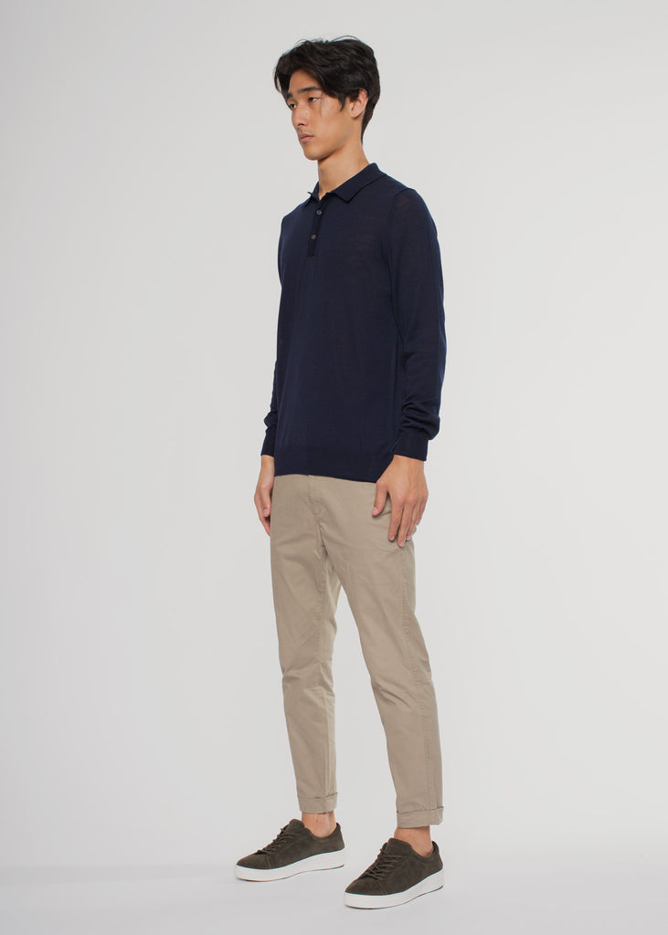 Walt Polo Knit Navy Blue