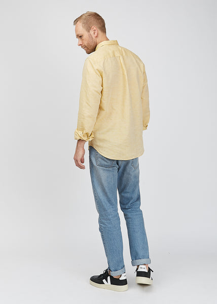 Osvald BD Cotton Linen Shirt Sunwashed Yellow