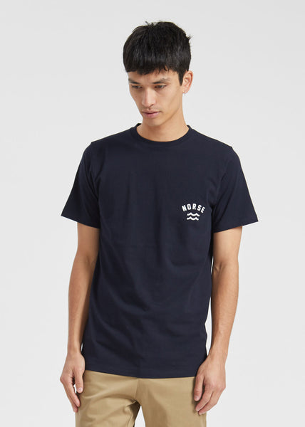 Niels Ivy Wave Logo Tee Dark Navy