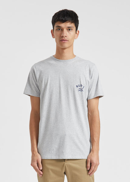 Niels Ivy Wave Logo Tee Light Grey Melange