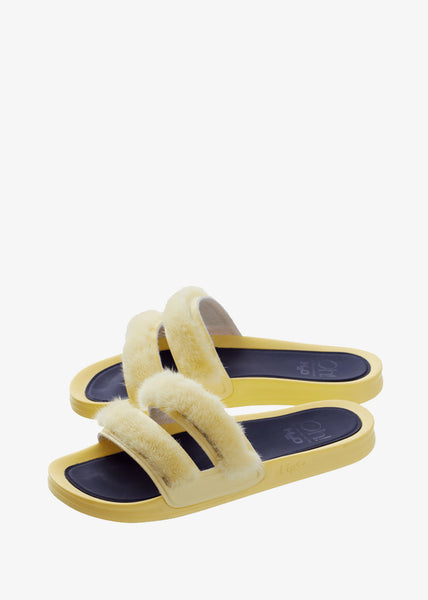 Striped Mink Slippers Yellow