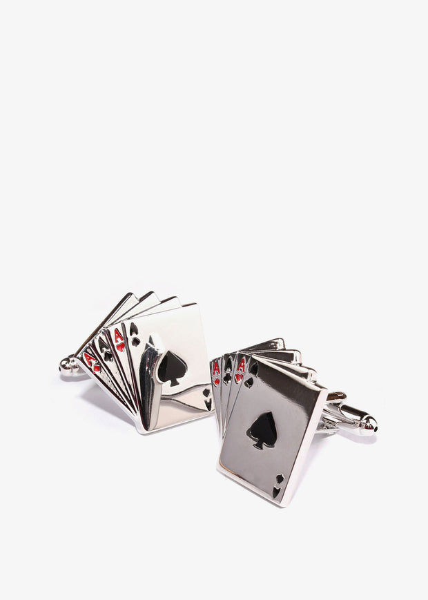 Ace of Cards Cufflinks Silver