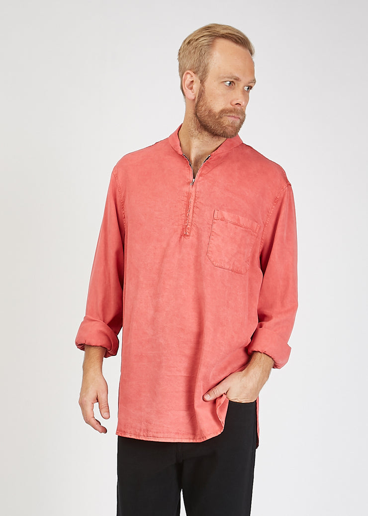 Shawl Zip Shirt Clear Red