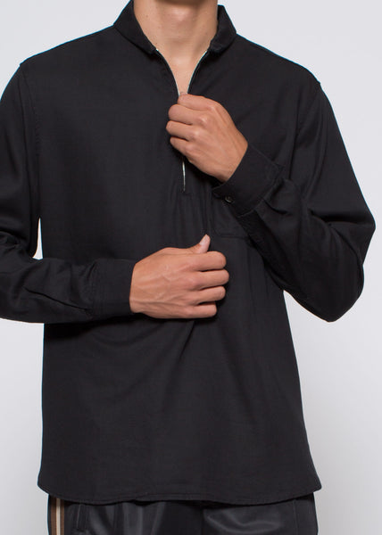 Shawl Zip Shirt Black Silky Wash