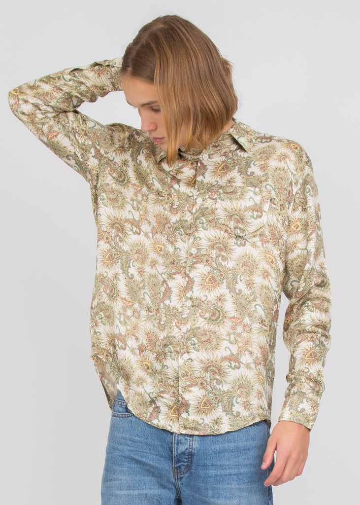 Initial Shirt White Plants Print