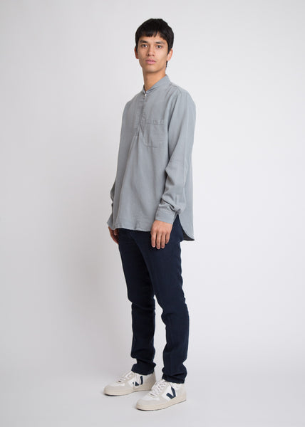 Shawl Zip Shirt Steel Grey Silky Wash