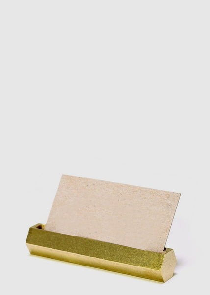 Hex Brass Business Card Holder