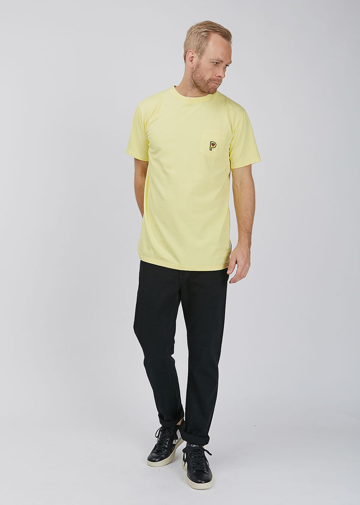 Pop P Pocket French Terry T-Shirt Overdyed Yellow