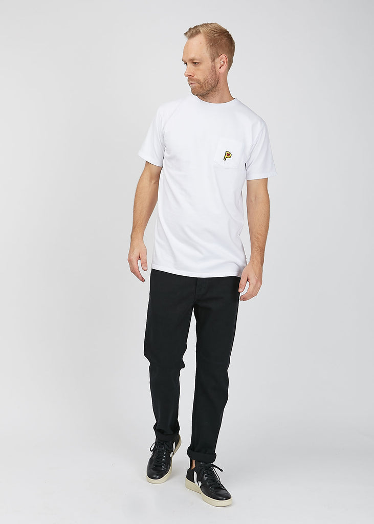 Pop P Pocket French Terry T-Shirt White
