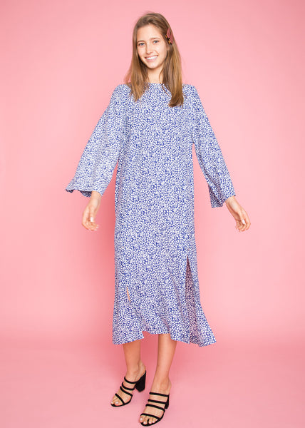 Luminosa Flower Dress Deep Sea Blue