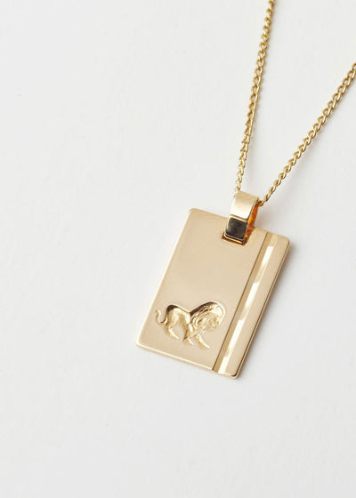 Leo Star Sign Pendant and Chain Gold