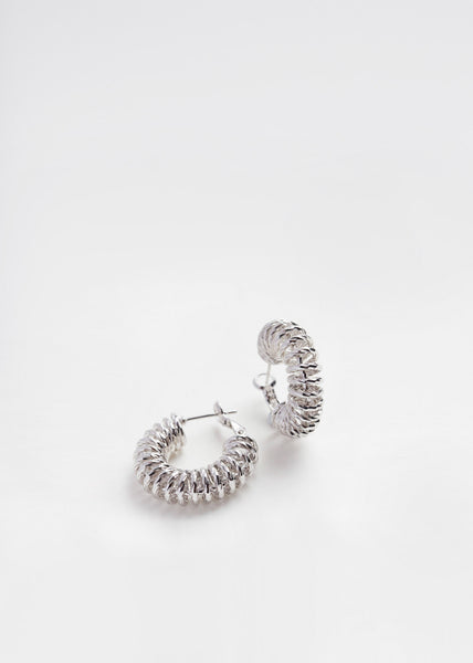 Spiral Hoop Earrings White Gold