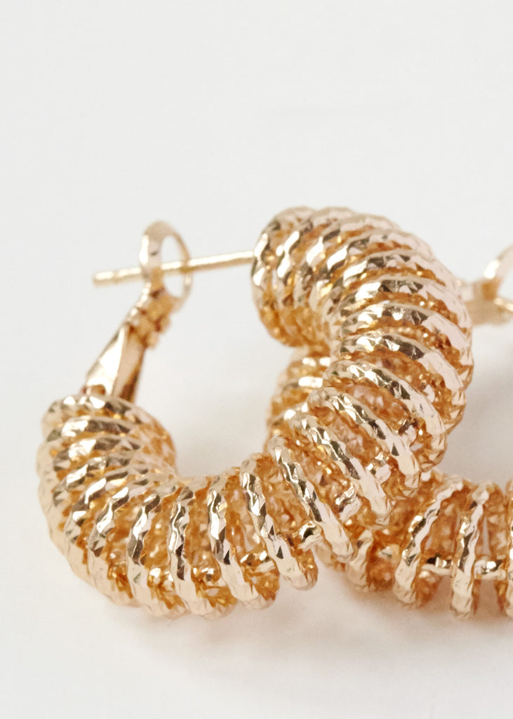 Mini Spiral Hoop Earrings 18ct Gold