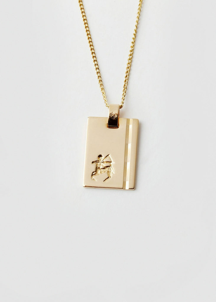 Sagittarius Star Sign Pendant and Chain Gold