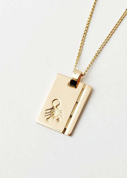 Scorpio Star Sign Pendant and Chain Gold