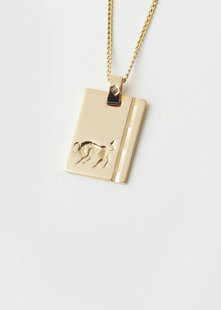 Taurus Star Sign Pendant and Chain Gold
