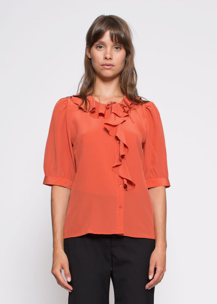 Xilla Silk Blouse Red Ochre