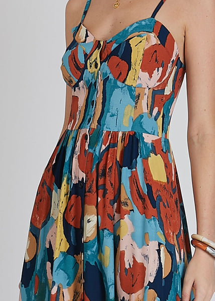 Eve Painted Tulip Dress Rust