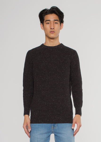 Rollas Crew Knit Jumper Black Fleck