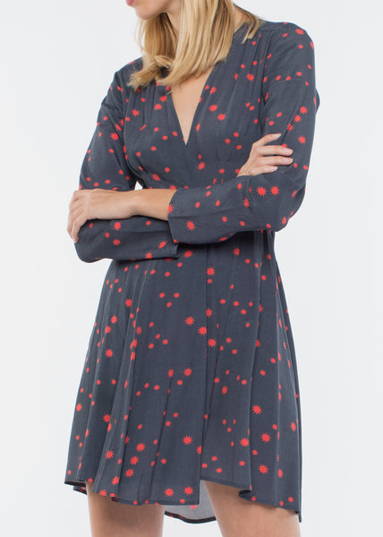 Long Sleeve Dancer Wrap Dress Navy Galaxy