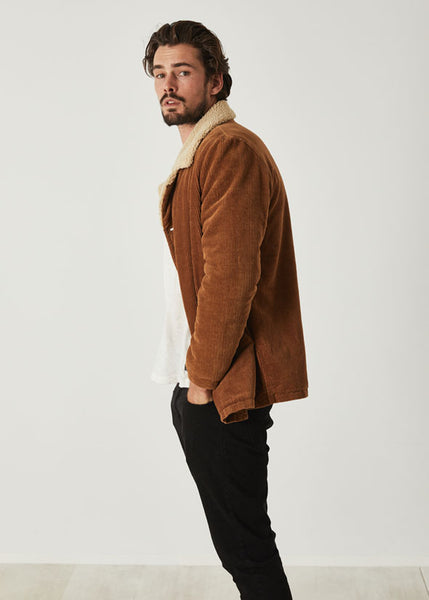 Old Mate Sherpa Jacket Tan Cord