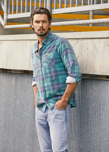 Tradie Check Cord Shirt Green Check