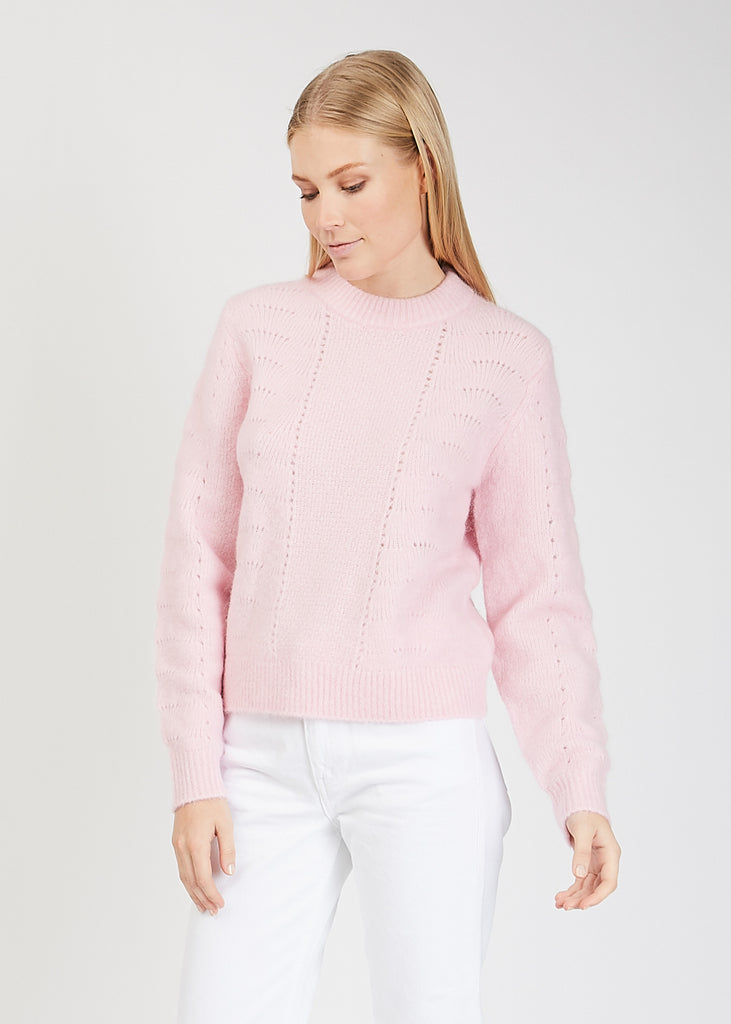 Nola O-Neck Cable Knit Pink Melange