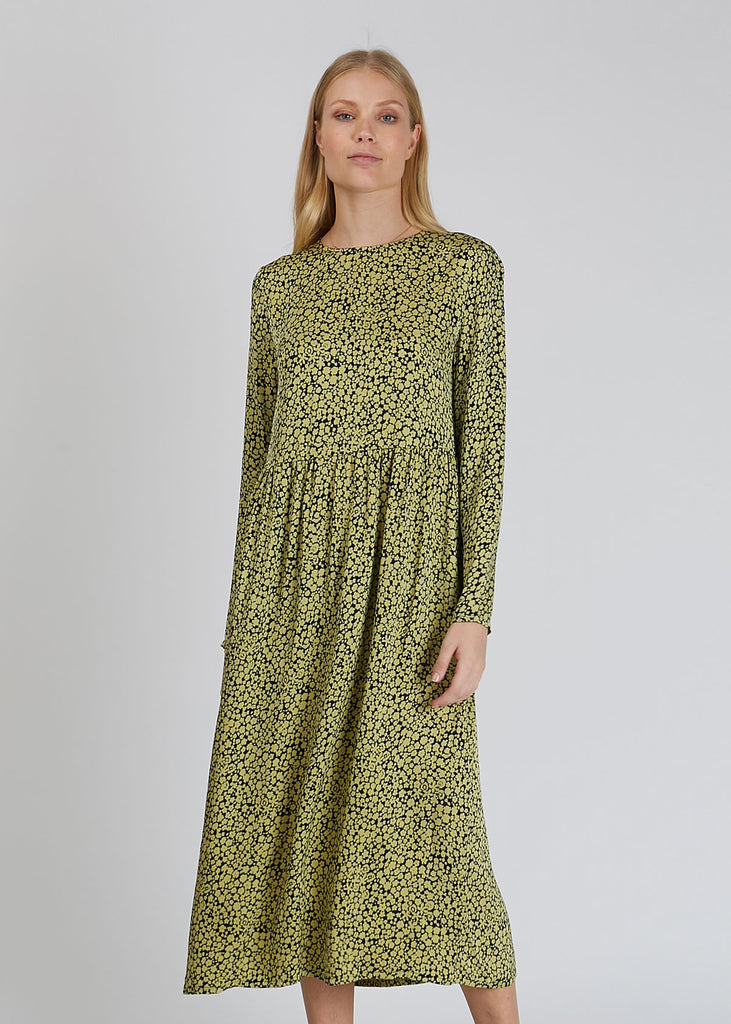 Raven Dress Aop Yellow Buttercup