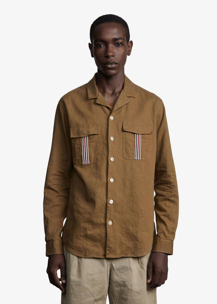 Leisure Notch Cotton Linen Twill Shirt Desert Brown
