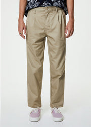 Pleated Chino Pants Khaki Twill