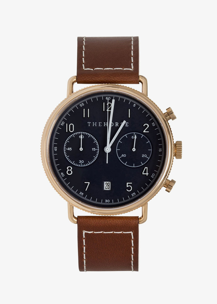 Chronograph Watch Rose Gold/Navy Dial/Tan Leather