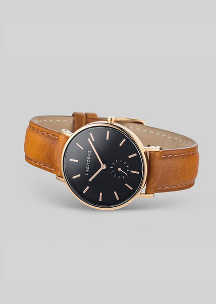 The Classic Rose Gold / Black Dial / Tan Leather