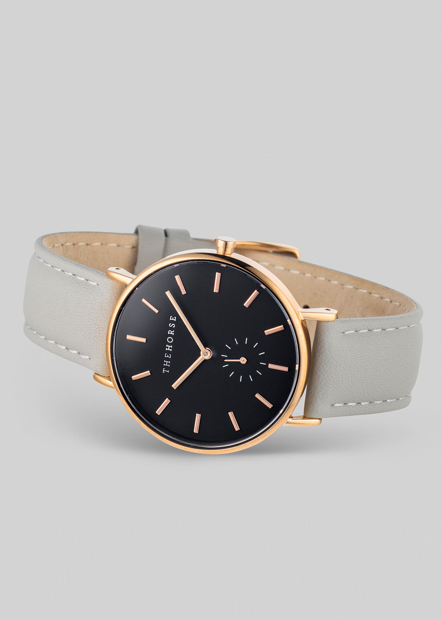 The Classic Rose Gold / Black Dial / Grey Leather