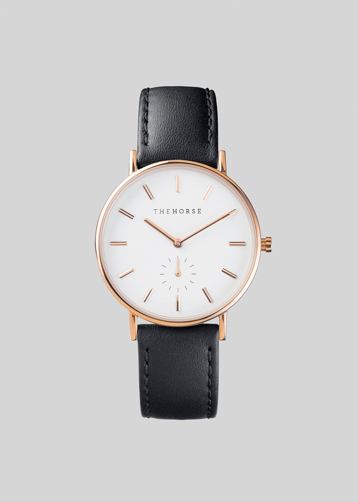 The Classic Rose Gold / White Dial / Black Leather