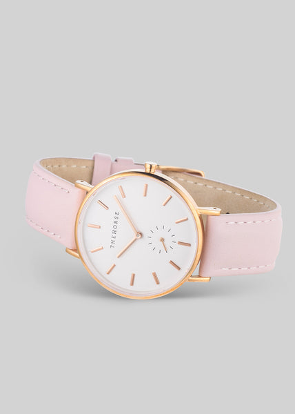 The Classic Rose Gold / White Dial / Pink Leather