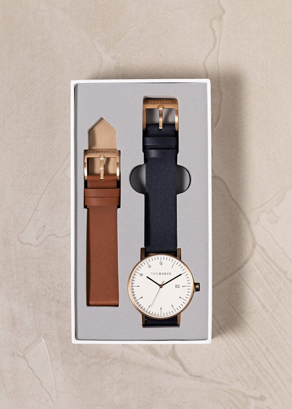 D-Series Watch Tan/Navy/Brushed Rose Gold Box Set